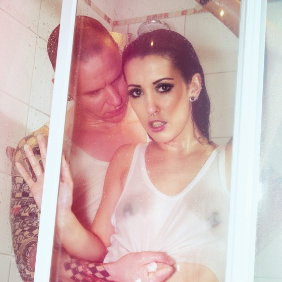 Hot Shower - super sexy wetlook underwear boy girl photo with a fantastic hot model wearing half transparend shirt showing her nipples - © by Magistus