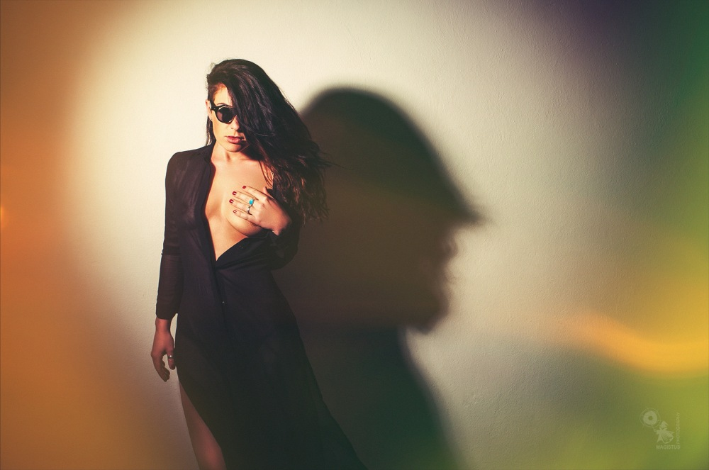 Dark Sun beauty - super sexy and hot girl is posing in a half transparent dress showing her cleavage - © by Magistus