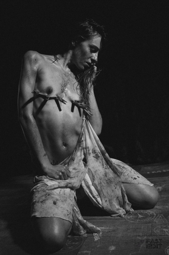 FAST EDIT: Dirty Sweet Pain (12/2015) - super skinny and sexy girl is covered in dirt with her skirt ripped of her body posing topless and half naked with her tits tortured by clamps. - © by Magistus