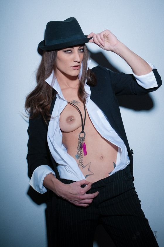 FAST EDIT: Sexy Tuxedo (01/2016) - super hot and sexy girl is posing half naked and topless in a black suit showing her naked pierced boobs - © by Magistus