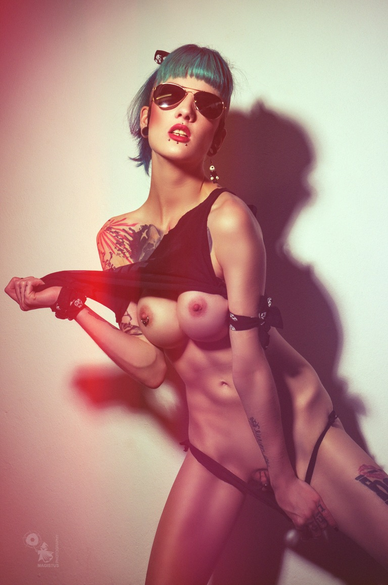 Ripp Off - super hot and erotic nude art photo with alternative model Intensivstati0n Prinzessin posing naked ripping of her cloths showing her naked big pierced boobs and pussy - © by Magistus