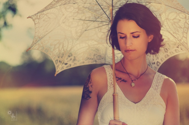 Summer Beauty - beautiful summer girl with a white umbrella - © by Magistus