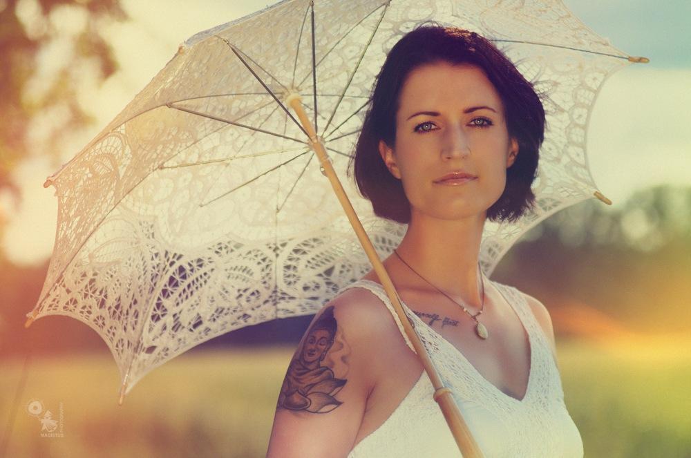 White Umbrella - beautiful summer portrait - © by Magistus