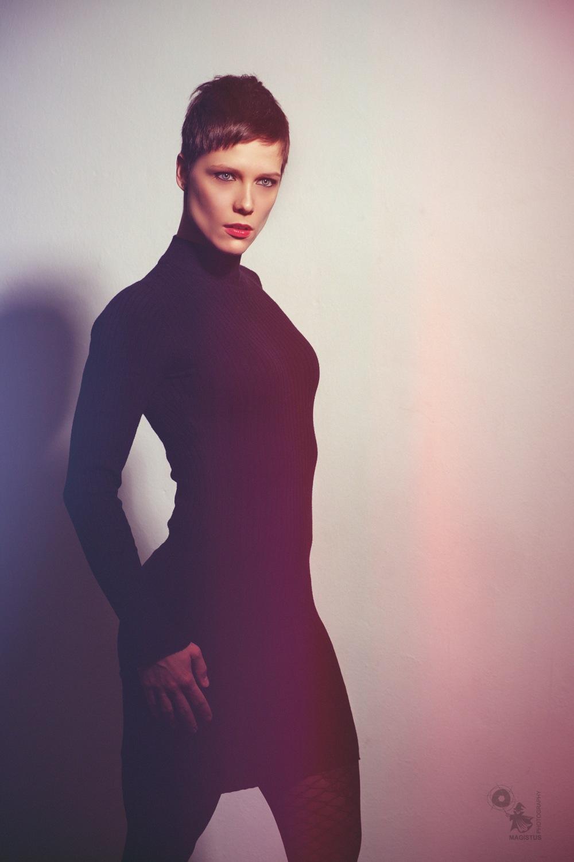 Elegant Fashion - fantastic Model posing in a black tight dress - © by Magistus