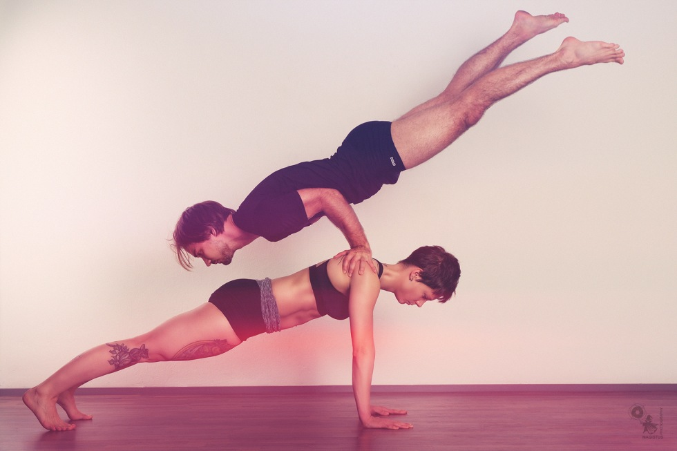 Acrobatic Fitness - fantastic acrobatic boy-girl pose with two fitness models - © by Magistus
