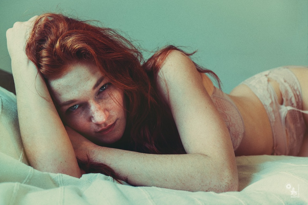Beauties Bed - super beautiful redhead model is posing in the bed wearing lingerie - © by Magistus