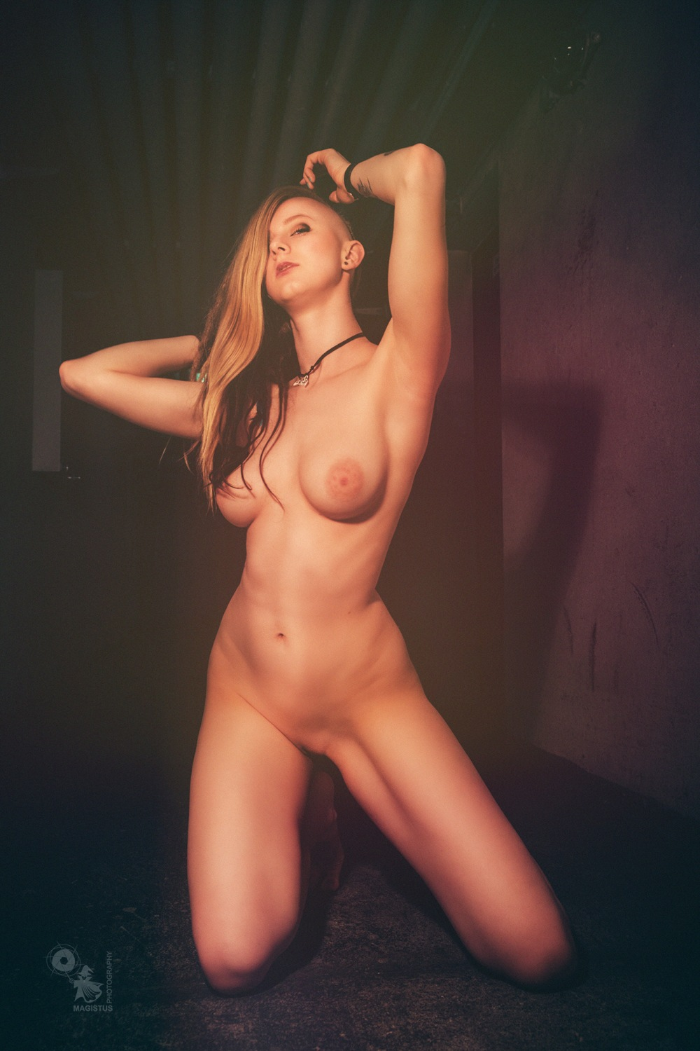 Naked in Dark - super hot and sexy girl is posing fully naked showing her fantastic body and big boobs. - © by Magistus
