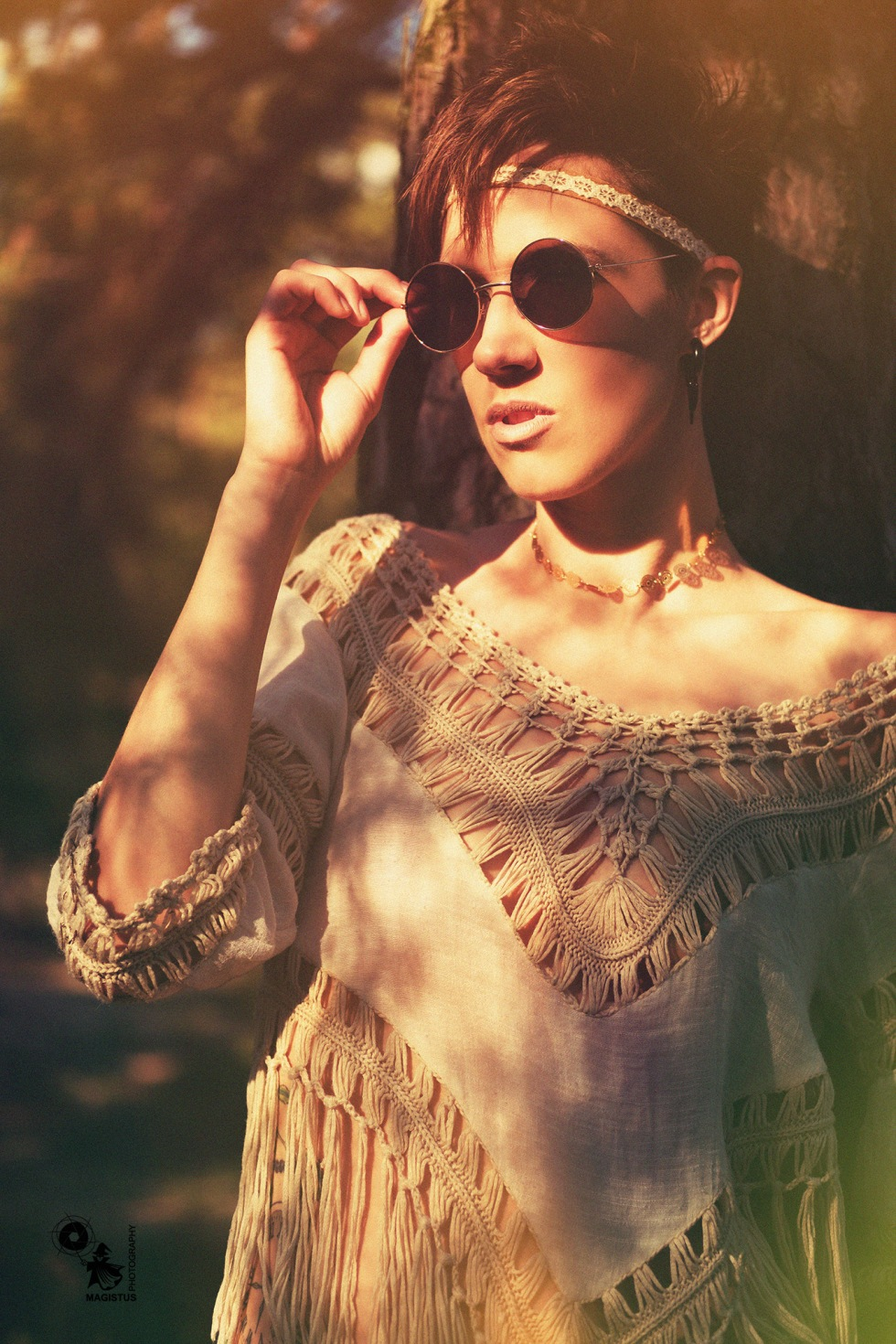 Sunglasses - fantastic model is posing in a hippie styling in the summer sun - © by Magistus