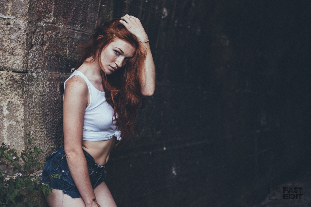 Dark Summer - Fantastic beauty is posing in a jeans and tank top outfit showing her beautiful freckles - © by Magistus