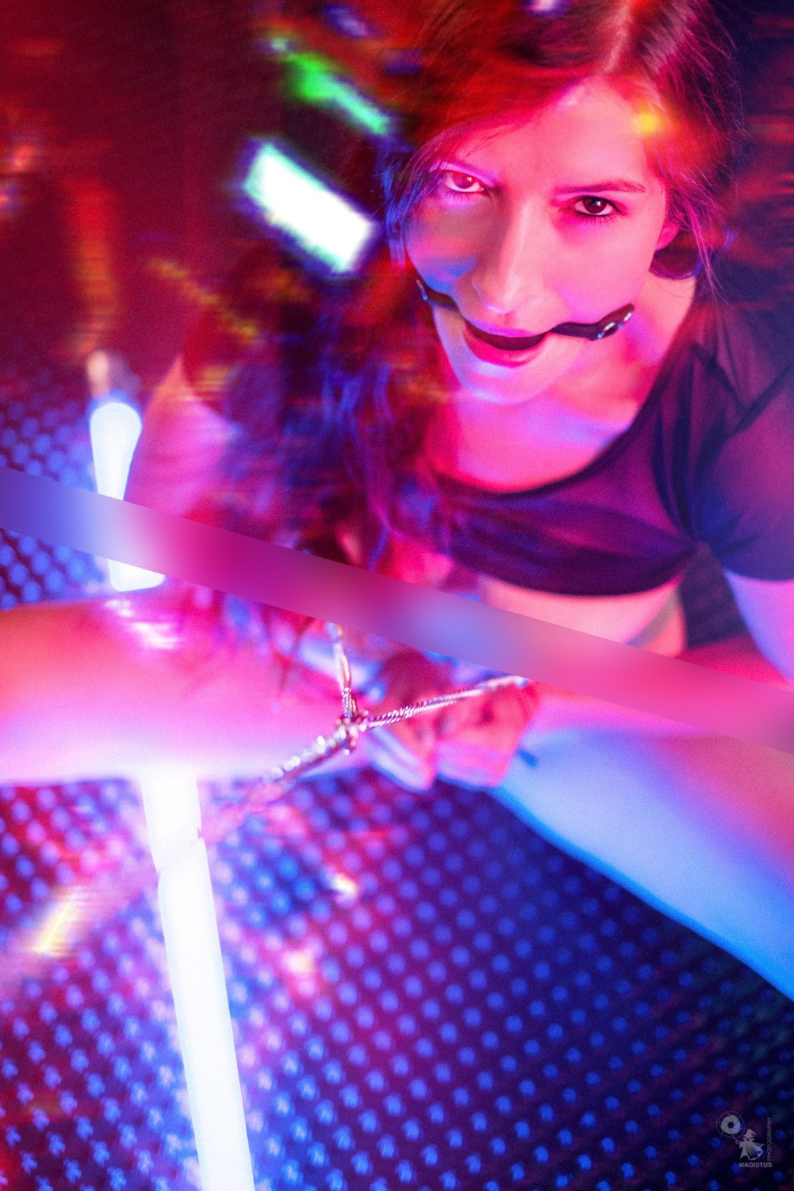 Super hot girl with nipple clamps and gagged in neon light (Censored)